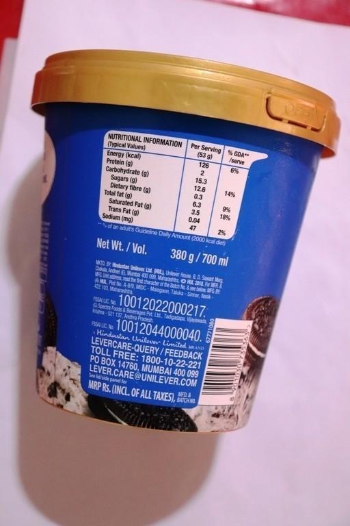 oreo ice cream tub price